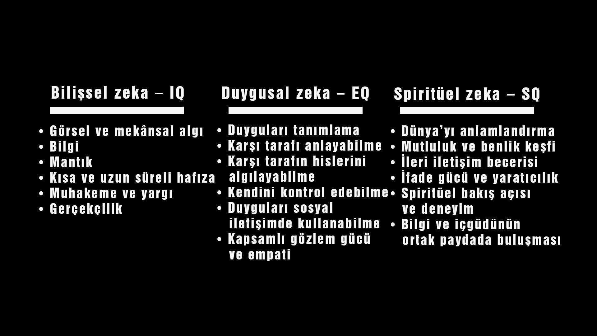 Yani bu manna direk beyine etki ediyor onun için şu üç maddeyi bilmemizde fayda var. Bilişsel zeka, Duygusal zeka ve Spiritüel zeka..